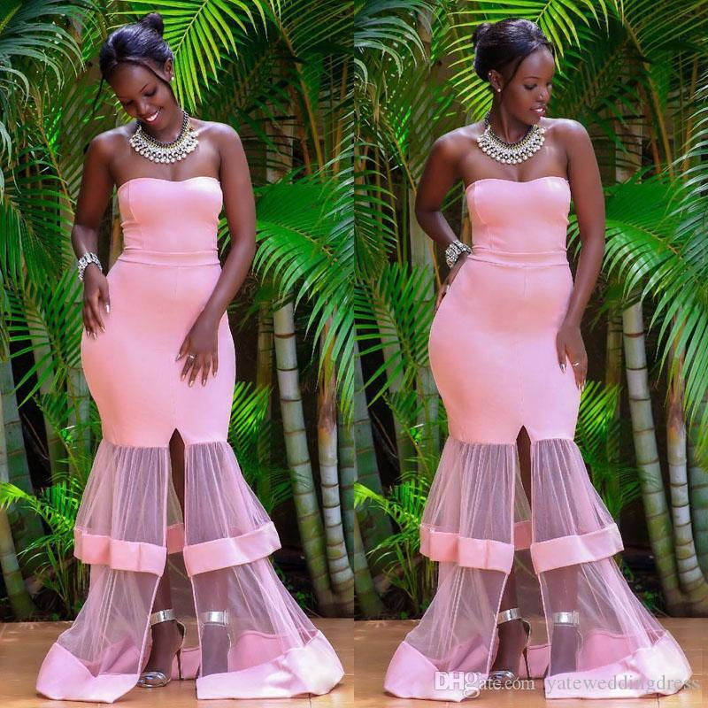 Розовый Элегантный Русалка Вечерние платья Милая выпускные платья без рукавов с сеткой снизу спереди молния сплит на заказ платья для вечеринок