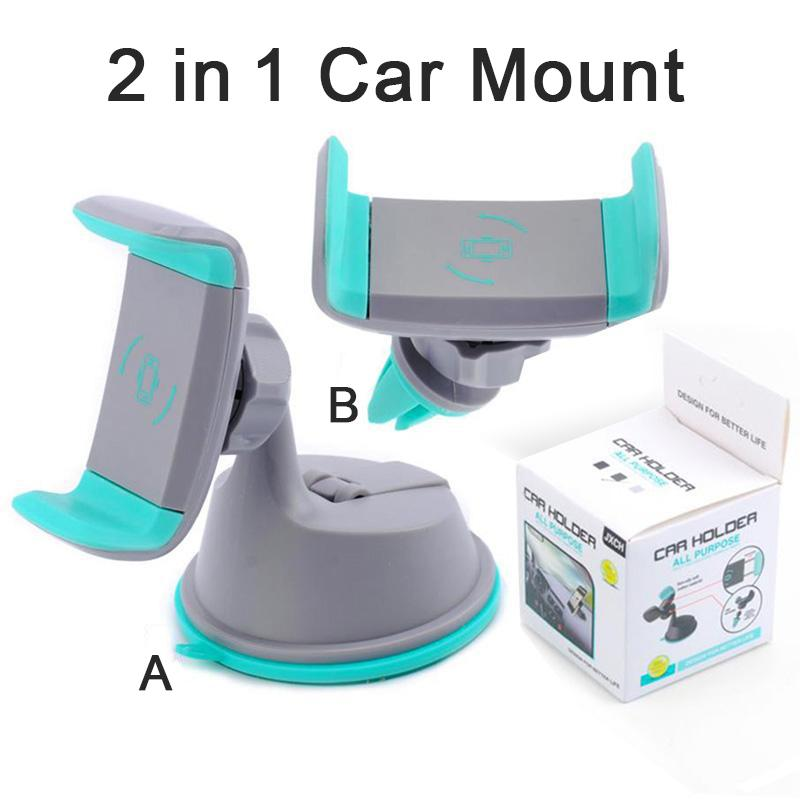 2 in 1 Mini Windshield Car Mount Holder 360 Rotating Air Vent Sunction Kickstand For Mobile Cell phone holder with retail package