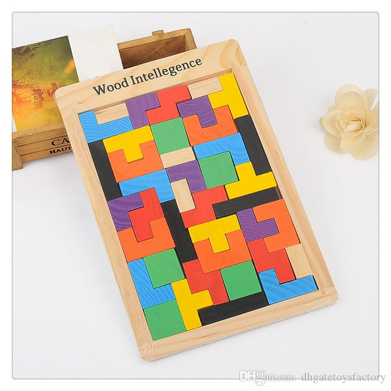 Wholesale Emorefun Qin Colorful Wooden Tangram Jigsaw Building Blocks Game Tetris Puzzle for Kids Toy High Quality Hot Sale