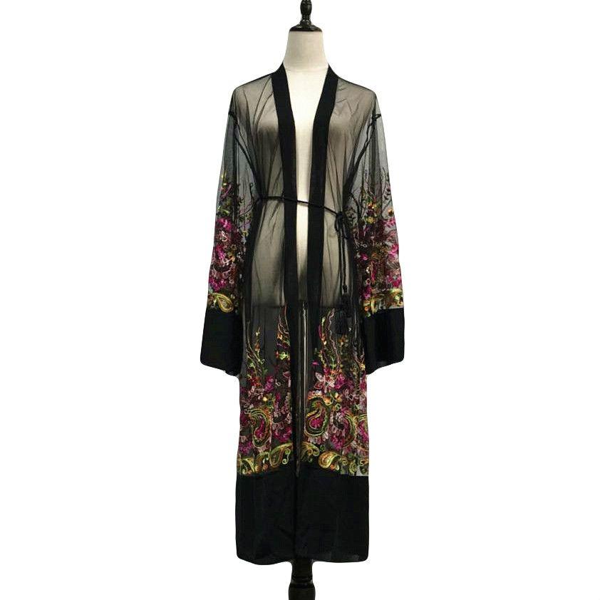 2018 Sexy Abaya Dubai Muslim Kleid Frauen Blumenstickerei Kimono Ramadan Mesh Strickjacke Kaftan Marokkanischen Islamischen Kleidung Kaftan