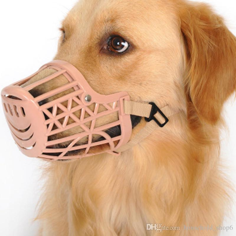 Mascota Bozal Máscara Perro Mordida Canasta Cachorro Malla de boca ajustable Cubierta de boca de plástico 7 Tamaño 1 piezas