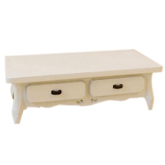 Dollhouse Miniature White Wooden Oblong Coffee Table With 4 Drawers Living Room Furniture 12th Scale Discount Dollhouse Furniture Dollhouse Sets From