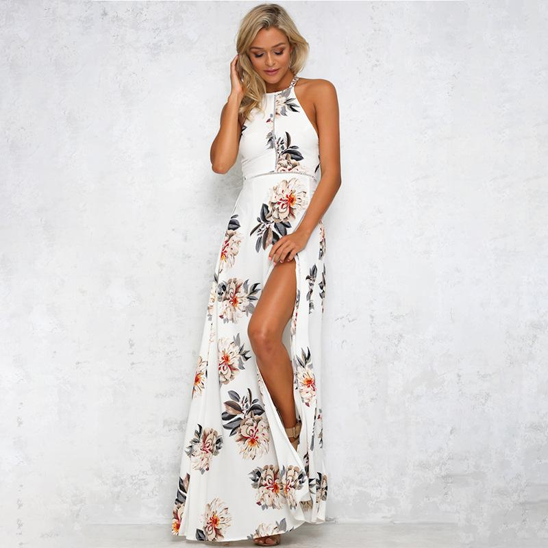 Модные повседневные платья женские праздники без рукавов женские макси длинные летние принты пляж полиэстер платье размер S-XL купальники для женщин горячий