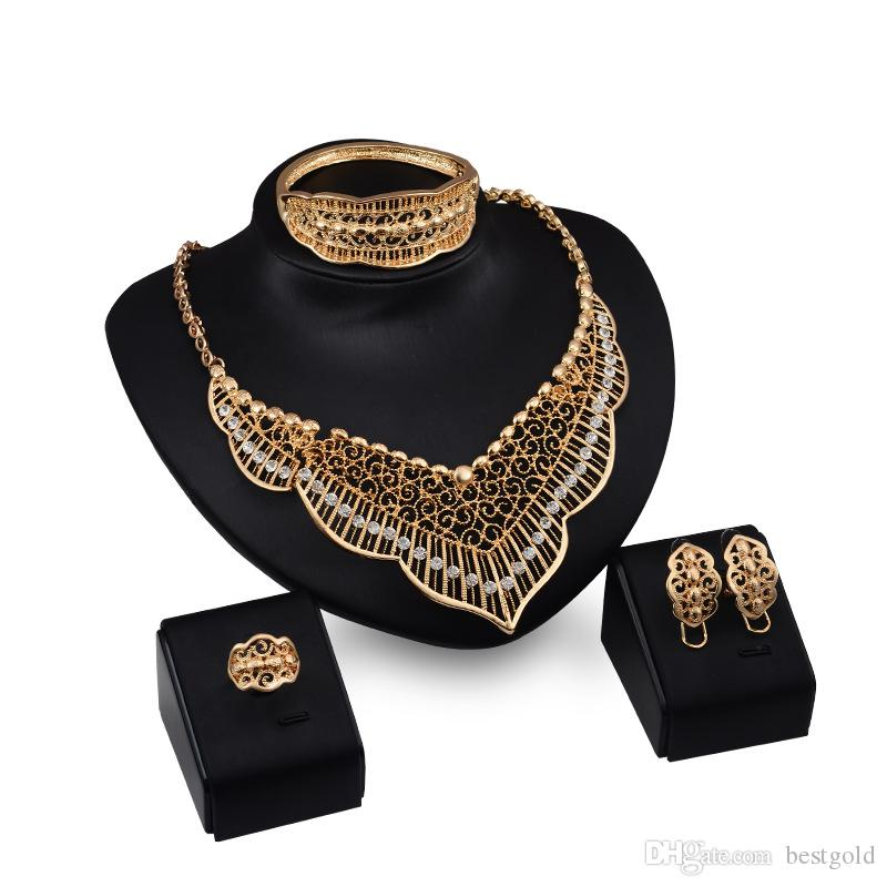 Dubai 18K Gold Pendant Tassels Necklace Sets Fashion African Diamond Wedding Bridal Jewelry Sets (Necklace + Bracelet + Earrings +Ring)