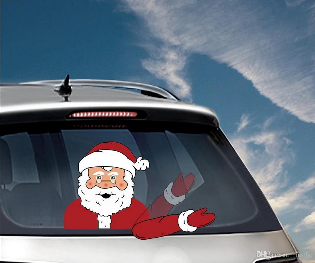 عيد الميلاد ممسحة الشارات زينة السيارات PVC النافذة الخلفية ممسحة الزجاج الأمامي ملصقات السيارات التصميم ملصقات عيد الميلاد SUV حلية