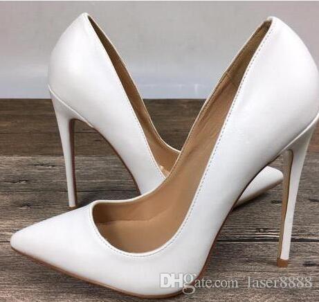 2018 여성 블랙 양피 양 발가락 여성 펌프 120mm 패션 레드 하단 여성용 하이힐 신발 신발 + 로고 + 먼지 봉투 신발