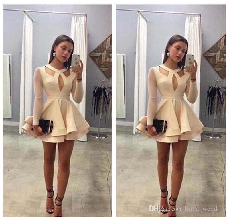 2019 Ucuz Kısa Uzun Kollu Homecoming Elbise Ile Bir Çizgi Gençler Tatlı 15 Mezuniyet Kokteyl Parti Elbise Artı Boyutu Custom Made