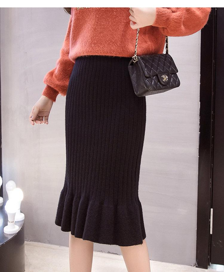 Winter Knitted Skirts Women High Waist Mermaid Skirt Saia Knitting Pack Hip Skirt Women\`s 2019 Casual Bodycon Faldas Mujer (7)