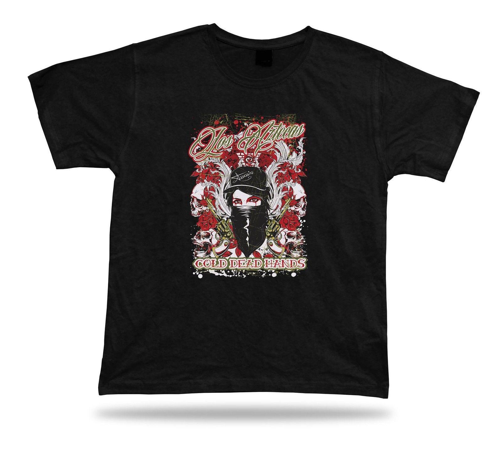 Tshirt Tee Shirt Idea regalo di compleanno Los Aztecas Pistol Gang Mask Cranio Rose Eye