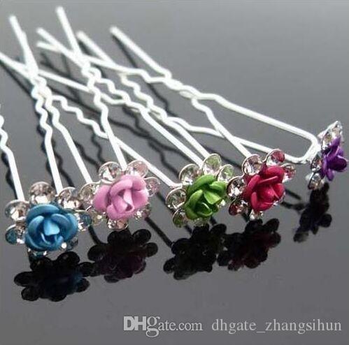 Роза RHINESTONE U образных Шпильки Clear Кристалл Свадебных волос Пром Pins Pin многоцветного