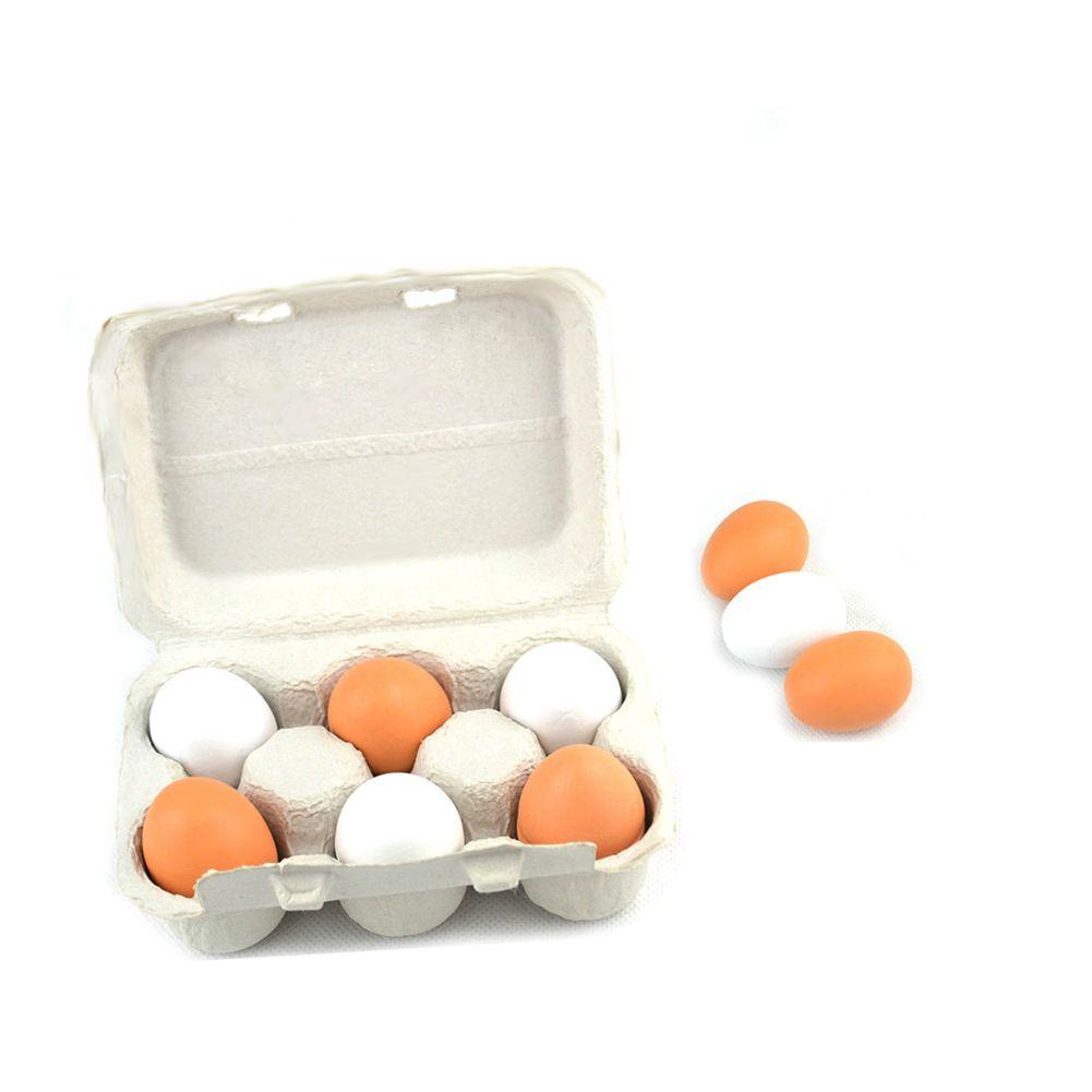 Wooden Kitchen Toys Pretend Play Food Eggs Baby Toys Set Yolk Food Eggs Preschool Wood Toys for Girls Children