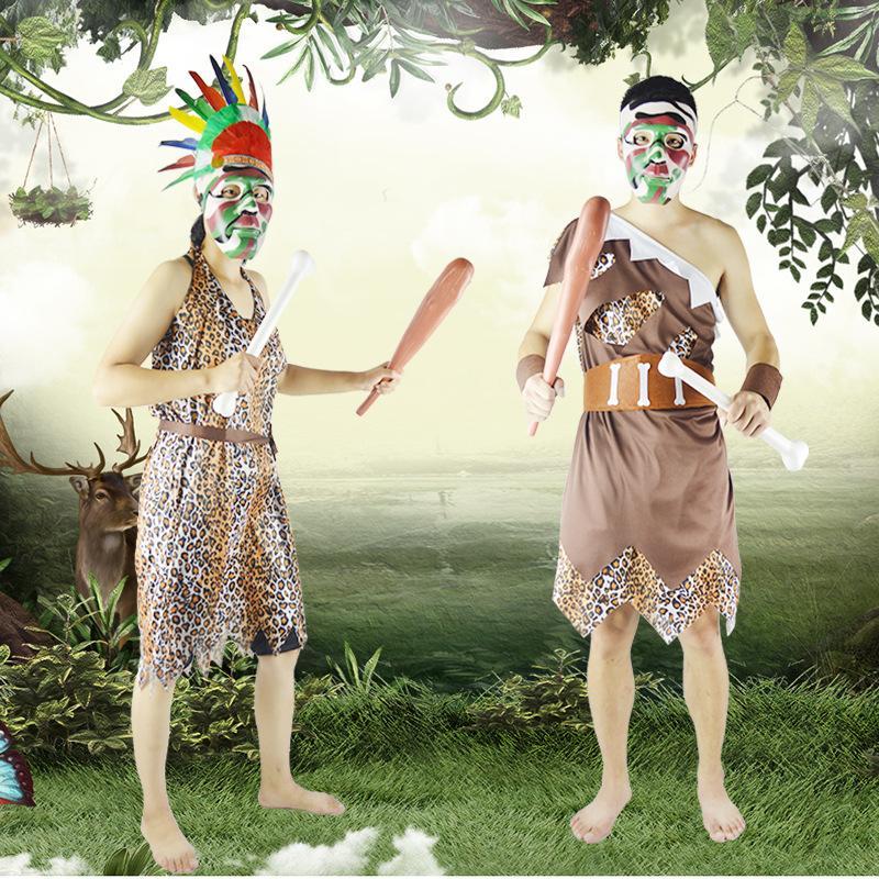 2018 Kreative Halloween Kostüm Cosplay Kostüme Erwachsene Frauen Männer Aboriginal African Native Indian Savage Halloween Dekorationen