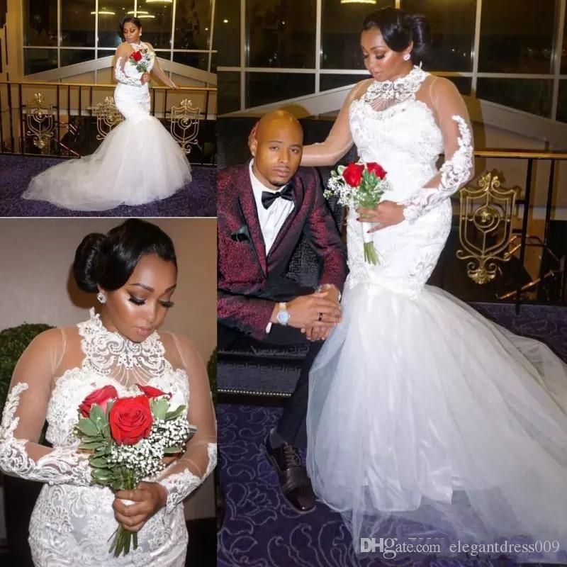 Nuevo vestido de novia más el tamaño de vestidos de boda de la sirena del Applique del cordón de manga larga de tul con gradas del Tribunal Berta boda del tren vestidos de novia de la boda