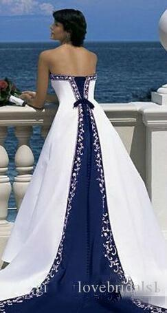 Hot Sale Vintage White And Blue A-Line Wedding Dresses Long Church Formal Bridal Gowns Princes Strapless Sleeveless Pastels Stain Plus Size