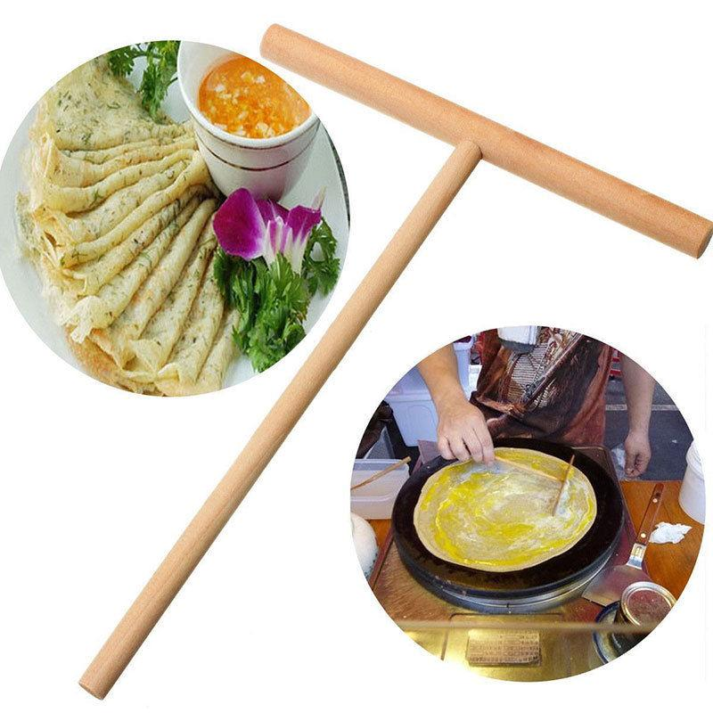 1pc Practial T Shape Crepe Maker Pancake Batter Wooden Spreader Stick Home Kitchen Tool Kit DIY Use