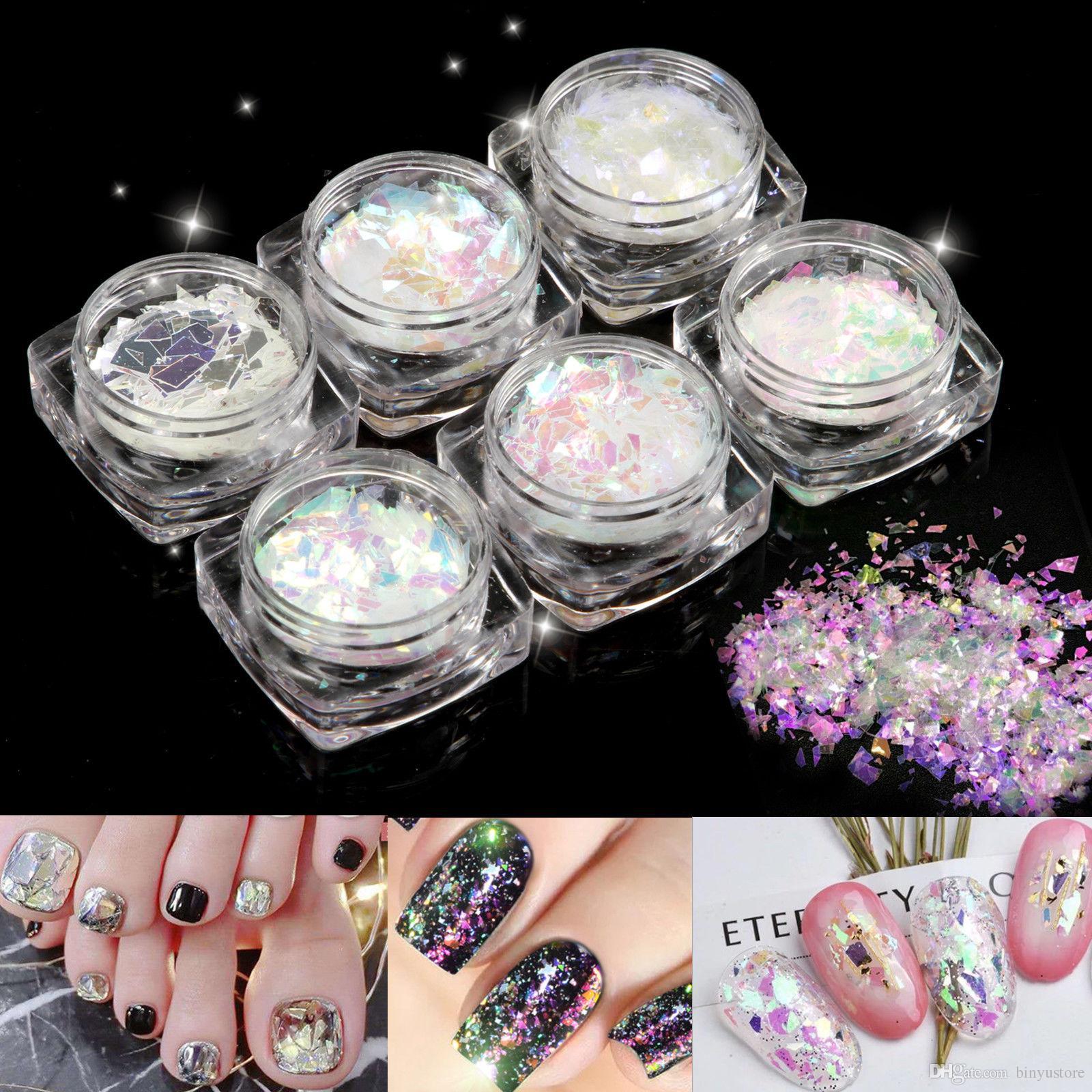 Hot sale 6 Pots Fashion Broken Glass Nail Art Tios Decoration Paillette Flake Irregular Foil Set