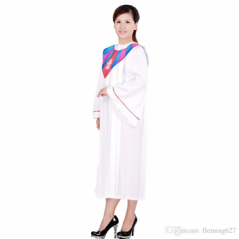 BLESSUME Christian Church White Alb Robe Vestments Multicolore Robe ROBES CHOIR CHORUS GOWN ROBE Église Musique Adulte robe de robe de choeur