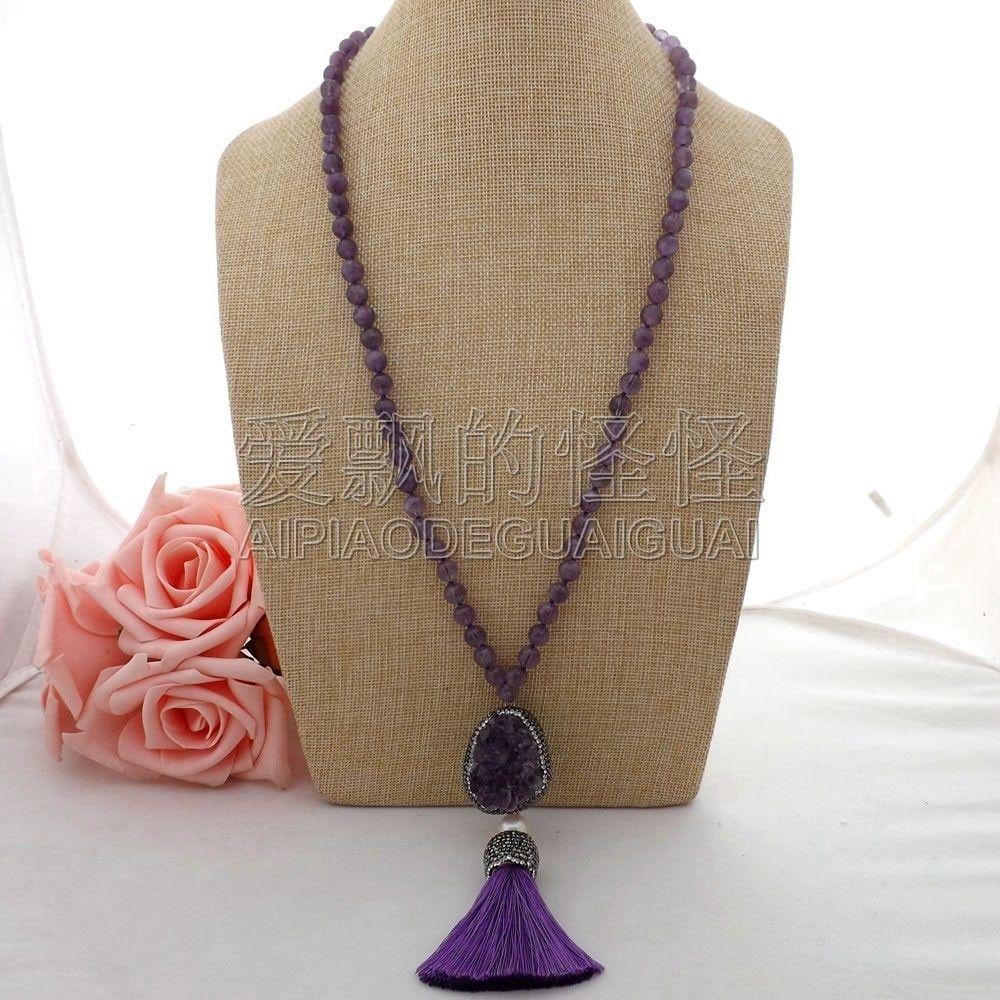 N062309 27'' Pearl Necklace Druzy Tassel Pendant