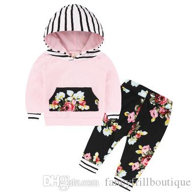 60c1dfd4 2018 Baby Girls Floral Striped Hooded Tops+Pants Baby Spring Autumn Two Piece  Clothes sets ...