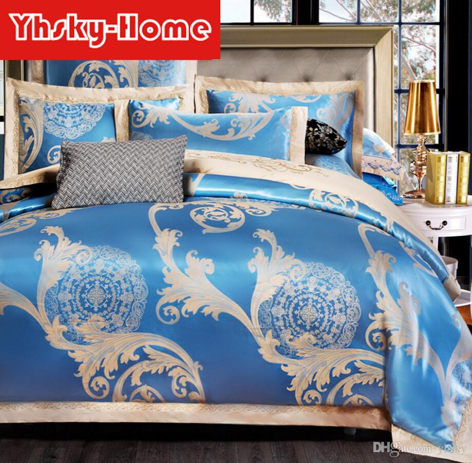 New High Quality Cotton jacquard luxury bedding sets queen/king size stain bed set 4pcs Wedding Bedding Supplies duvet cover bed sheet sets