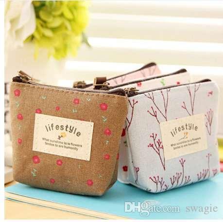 Nuevas Mujeres Niños Lienzo Monedero Floral Con Cremallera Bolsa Pequeña Cartera para Monedas Señora Key Card Holder Case Bag Porta Monete Donna