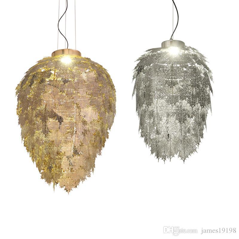Moder oro / argento lampade a sospensione in metallo lascia lampada a sospensione LED hotel di lusso sala da pranzo Villa illuminazione domestica H006