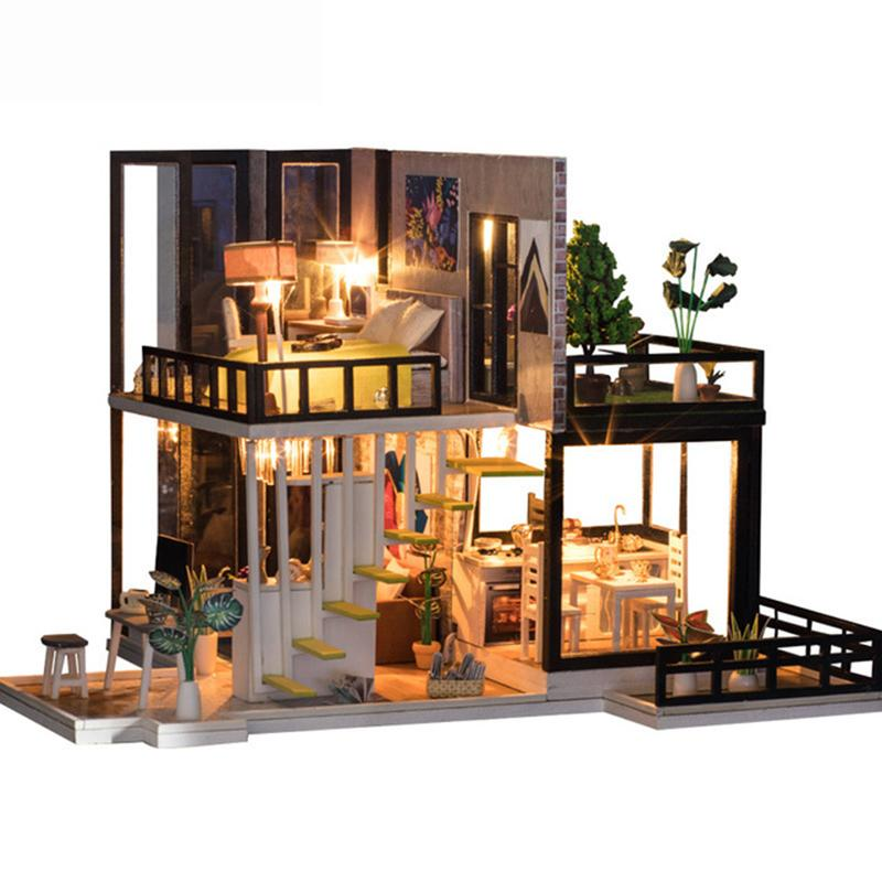 DIY Wooden Dollhouse Miniature Kit w// Furniture Light European House Gift