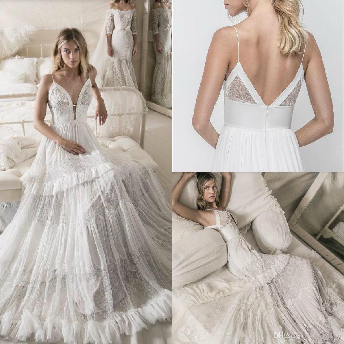 Летние бохо спагетти свадебные платья 2018 сексуальные кружева иллюзия оборками спинки свадебные платья высокого качества на заказ