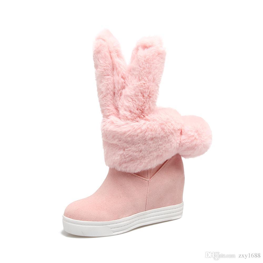 pgyH9Achat gratuit, fond épais, belles oreilles de lapin, peau et poils, chaleur et confort, bottes à tube moyen.