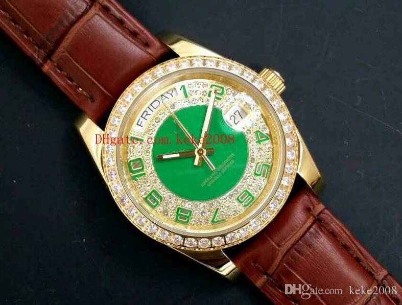 Роскошный высококачественный день Дата Президент 118138 36 мм Кожаные полосы ремень ремешок с бриллиантом цифровой цифровой циферблат Asia 2813 Memage автоматические часы