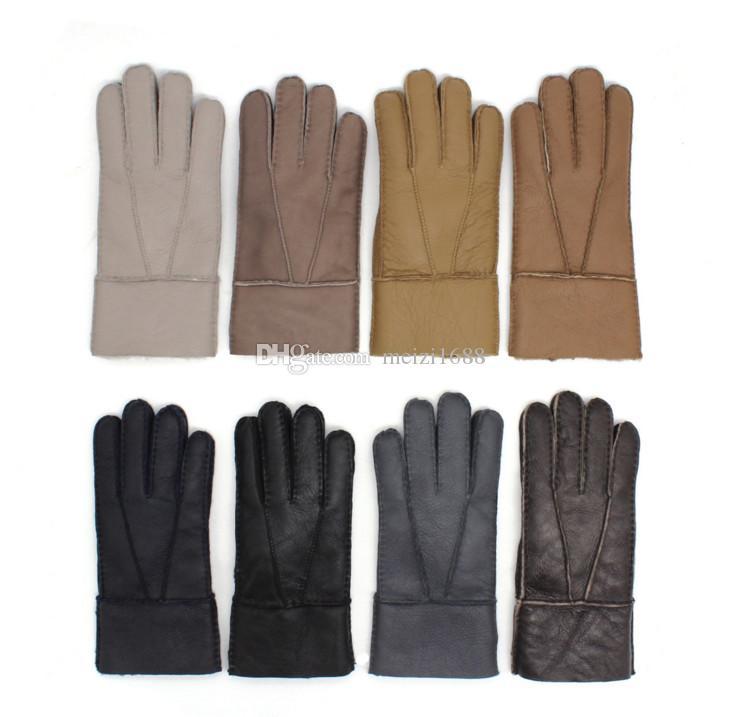 Классические мужчины новые 100% кожаные перчатки высокого качества шерстяные перчатки в нескольких цветах Бесплатная доставка