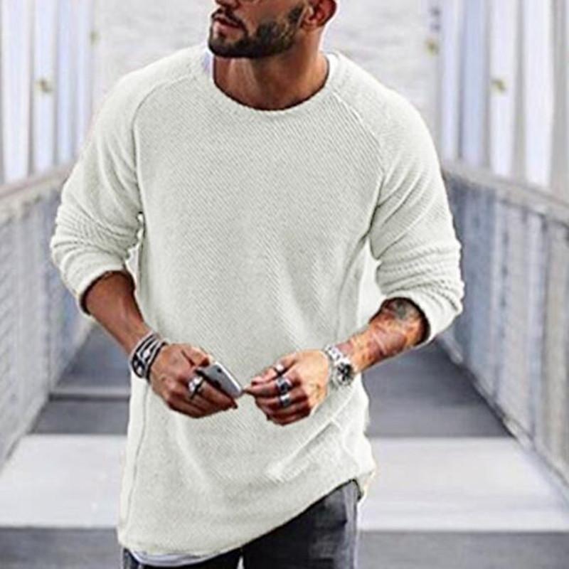 Maglione lavorato a maglia da uomo Autunno Inverno Solido stile semplice Pullover Casuale allentato O Collo Maglione Capispalla Streetwear