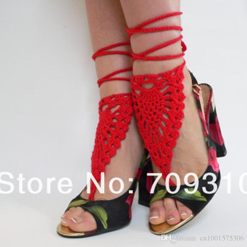 Beach mano ananas fiore rosso uncinetto sandali a piedi nudi, scarpe da spiaggia, accessorio da sposa sexy pizzo vittoriano, cavigliera da sposa.