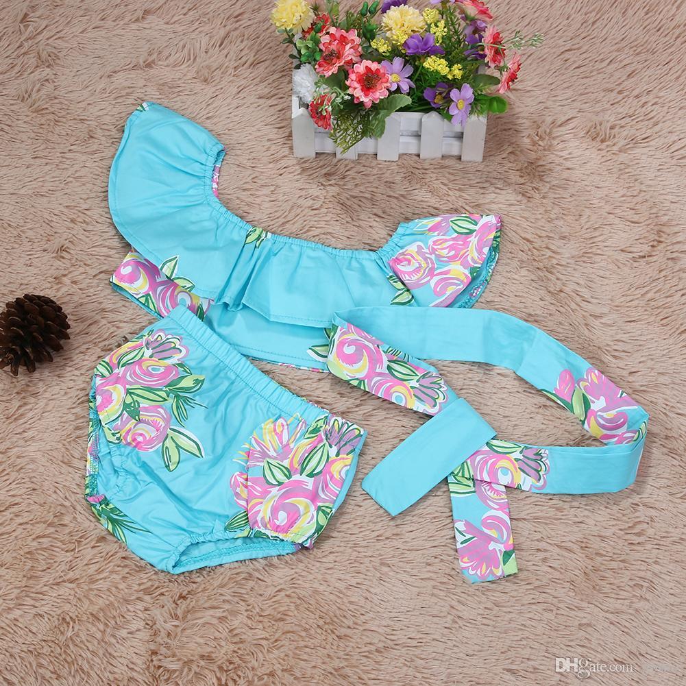 طفل الفتيات الوليد الزهور bowknot ملابس الاطفال زهرة طباعة دكرون ملابس السباحة مع العصابة تتسابق الفتيات الصيف بحر