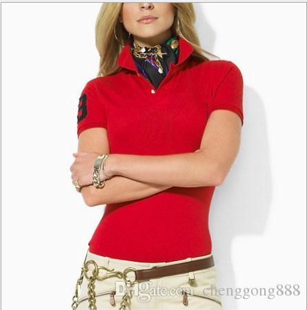 Женская рубашка поло стиль летняя мода большая лошадь вышивка женщины отворотом рубашки поло хлопок Slim Fit Поло топ повседневная поло рубашки лето