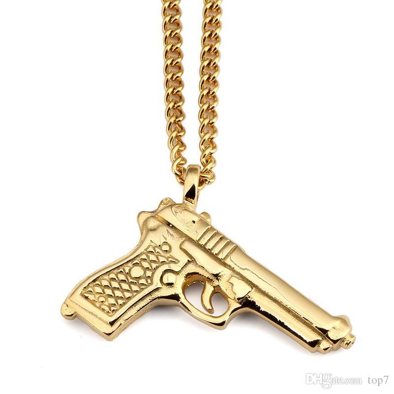 2018 neue design titanium stahlpistole anhänger halskette hip hop 92 pistolen anhänger vintage ricoe pistole halsketten für männer frauen geschenk