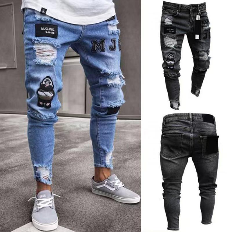 Les hommes denim trou déchiré Jeans côté haute rue Jeans Fashion Hip hop crayon skinny pour les hommes stretch patchwork noir