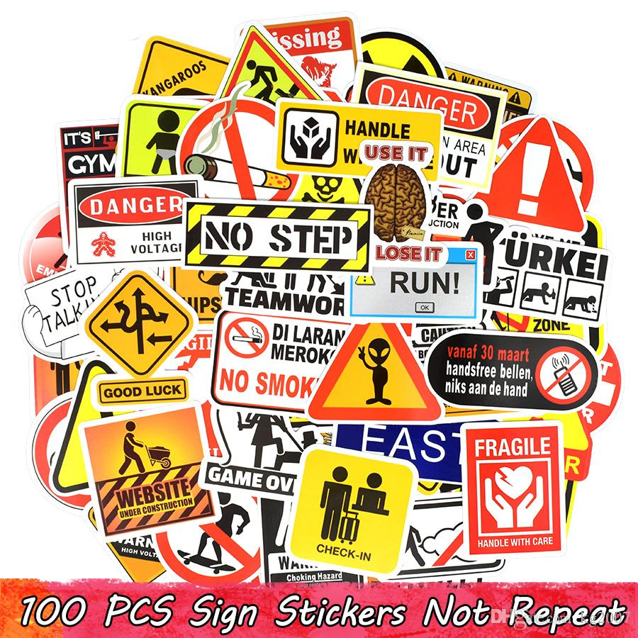 100 PCS Warning Sign Doodle Sticker Symbol Reminder Mark Label Stickers Home Decor Scrapbook Suitcase Laptop Fridge Bicycle Motorcycle Gifts