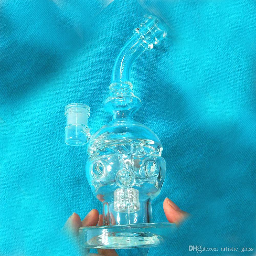 Hand Blown Crystal Skull Bong Real Picture Bubblers Beaker Glass Bong Dab Rigs Fab Egg Pipe Two Function Glass Pipe Sturdy Thicken Bottom
