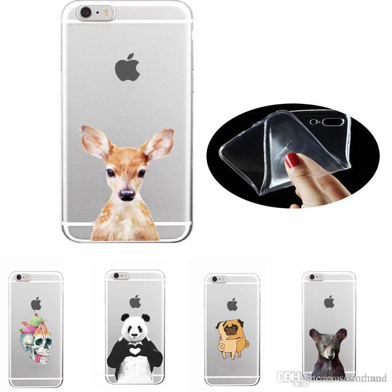 Animals TPU Case Deer Cat Dog Cover For iphone 7 6s 6 plus 5s 5 SE Sumsang S7 S6 edge S5 OPP BAG