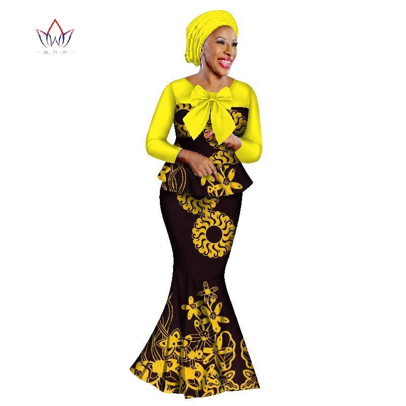 BRW 2019 novos conjuntos de saia africano para mulheres rendas tecido mix de impressão de cera tecido saia terno roupas de casamento superior + saia + headwrap WY2316