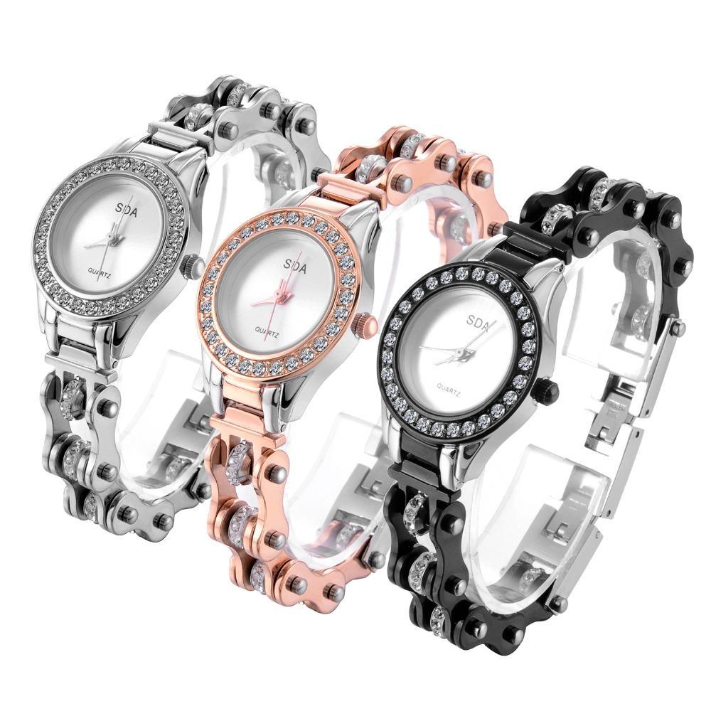 SDA Nuevo diseño para dama y niña para mujer Moda juvenil Romántico 316l Acero inoxidable Movimiento japonés Relojes de cuarzo W100