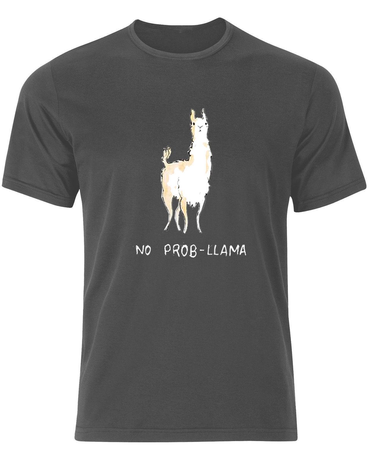Funny Simple Llama No Problem /'No Probllama/' Men/'s T-Shirt Top AH36