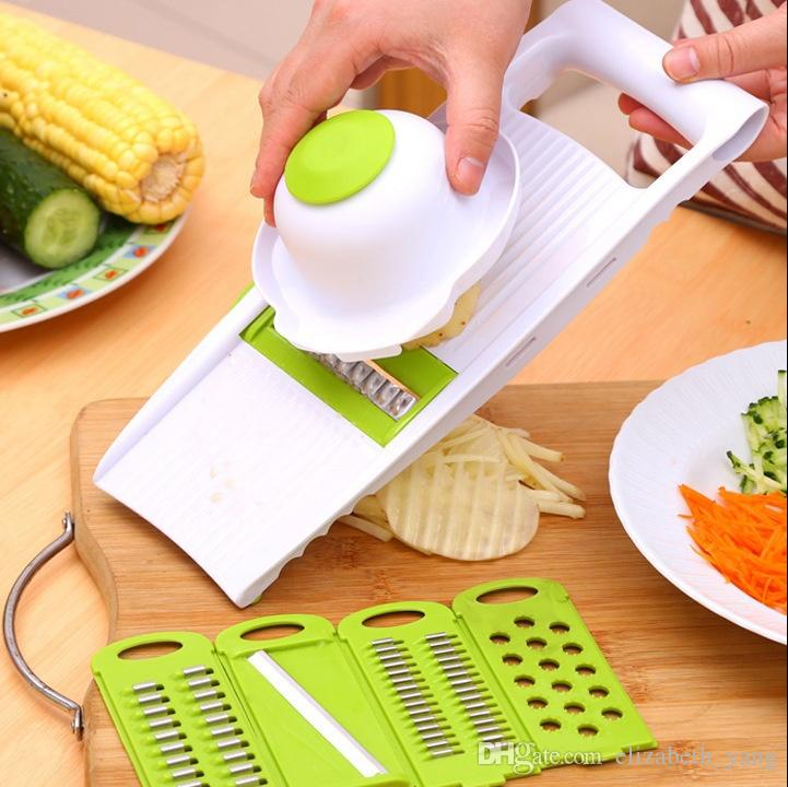 shredder Kitchen multifunction Grater set 5 in 1 sets Slicers into strips device Grater Potato Cutter with DIY baking chips tray