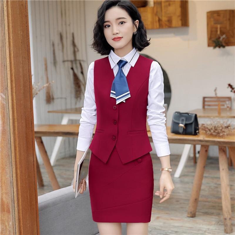 Summer work wear women suits skirt fashion OL plus size vest uniform female clothes vest set formal office ladies suits