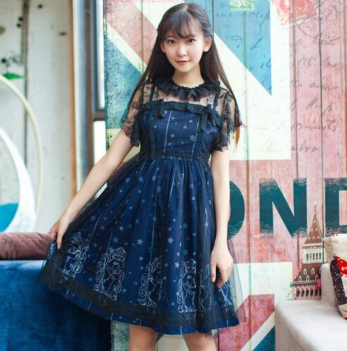 Sweet Sky Constellation Deep Blue Lolita Dress Starry Night Printed Mori Girl Adorable Lolita JSK Dress with Lace Cover-up