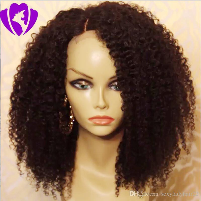 Parte laterale nera Parrucche ricce corte per donne nere Parrucca anteriore sintetica riccia sintetica Afro Kinky per donne afroamericane