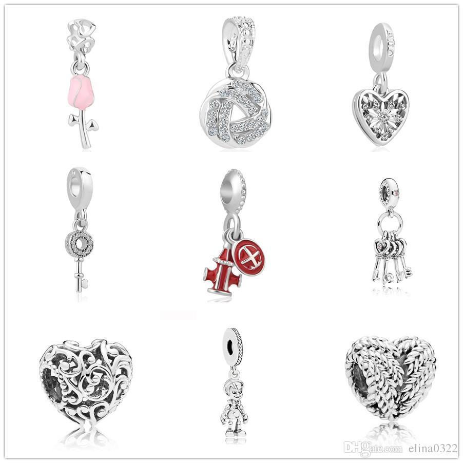 Più nuovo trasporto libero MOQ 20 pz argento europeo regal cuore amore ala chiave aereo rosa rosa fai da te bead Fit Pandora Braccialetto di Fascino F004