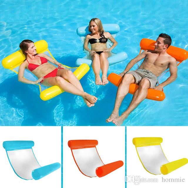 Summer PVC Floating Water Hammock Inflatable Floating Bed Beach Swimming Pool Lounge Float Bed Chair for Kids Adults