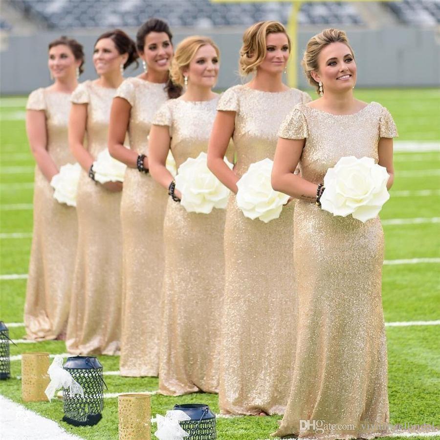 Großhandel Glitter Pailletten Meerjungfrau Brautjungfernkleider 12 Land  Rundhalsausschnitt Gold Shorts Ärmel Rückenfrei Lange Party Hochzeitsgast